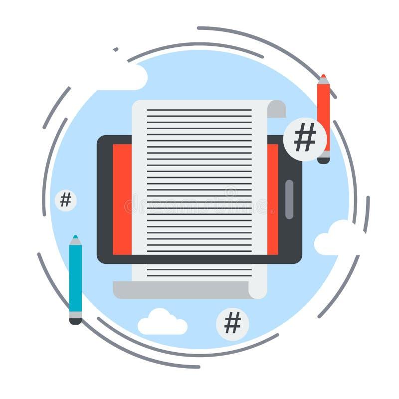 Internet blogging, concepto contento del sitio web stock de ilustración