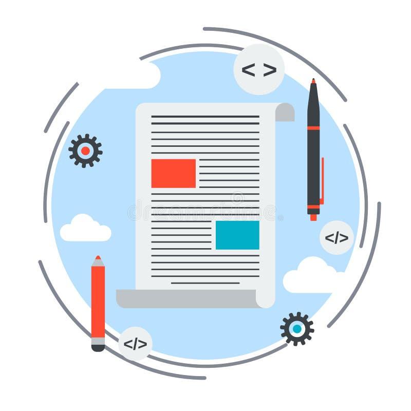 Internet blogging, contenu des textes, concept de journalisme de Web illustration stock
