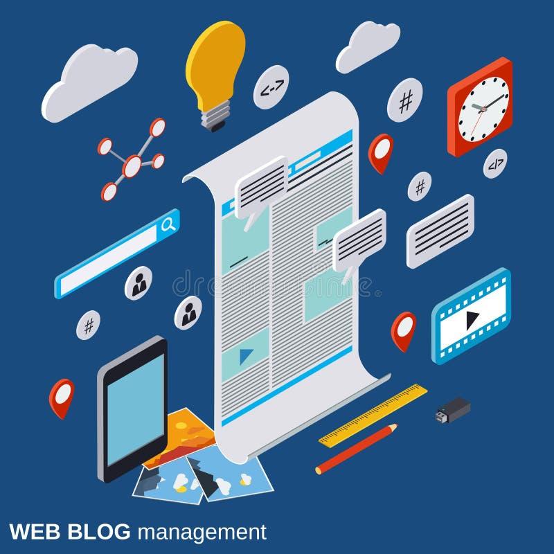Internet blogging, web publication, web journalism, blog management vector concept. Internet blogging, web publication, web journalism, blog management flat 3d royalty free illustration