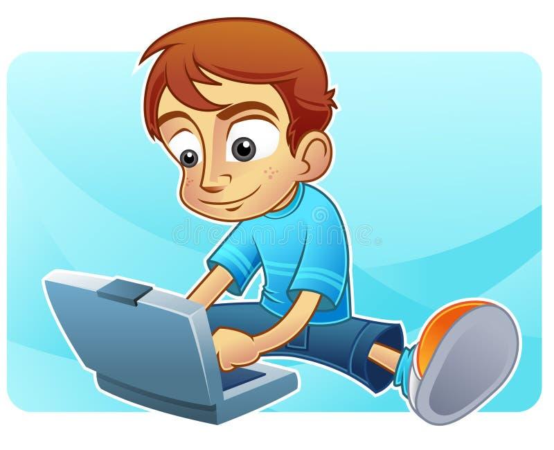 Internet bonito do menino que blogging ilustração do vetor