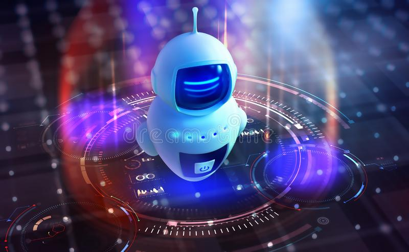 Internet bot no ciberespaço IA Tecnologia digital e redes sem fios ilustração royalty free
