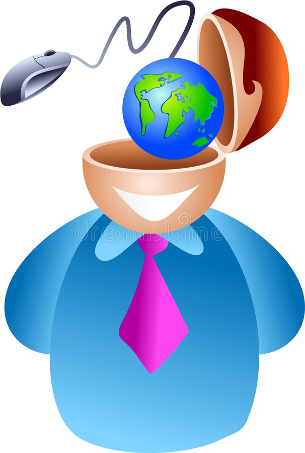 Internet brain. Man who does business on the internet - icon people series royalty free illustration