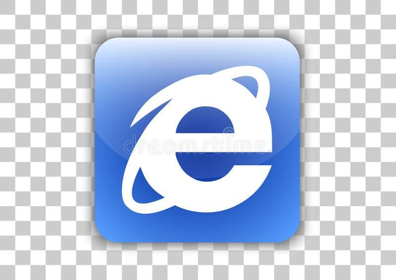 Internet-browser van de ontdekkingsreizigersoftware Pictogramknoop met binnen symbool royalty-vrije illustratie