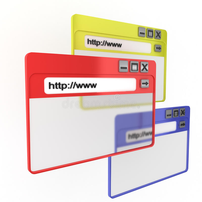 Internet Browsers. 3D rendering of internet browsers stock illustration