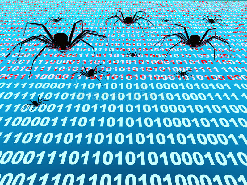Internet bugs. Penetration into a computer of a virus from Internet vector illustration