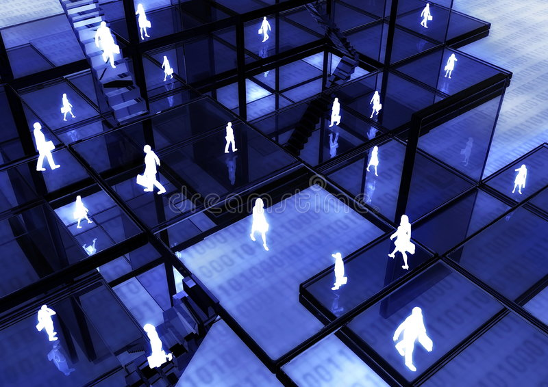 Internet Business 03. Ebusiness Concept illustrated with people doing activity and business in virtual internet world