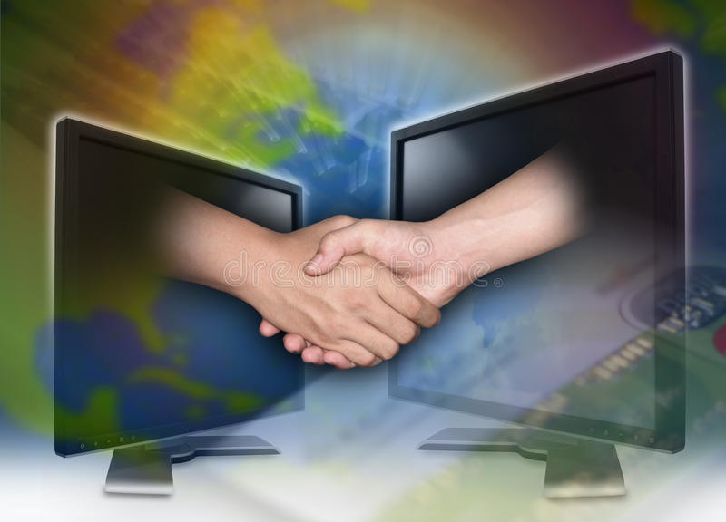 Internet business with hands shaking stock photos