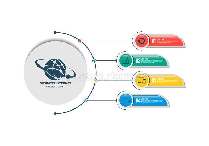 Internet business infographic template design with steps. Business marketing logo vector illustration stock illustration