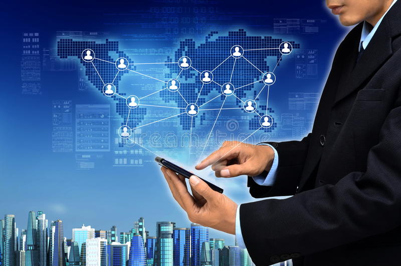 Internet for Business network Concept. Internet for business conceptual image. Businessman using internet information technology to communicate, sharing and royalty free stock image