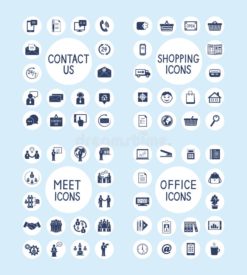 Internet Business Office and Shopping Icons Set. Business people meeting contact us customer care internet shopping marketing and office stationery supplies vector illustration