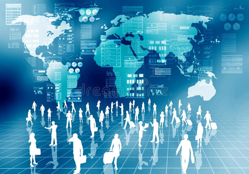 Internet business people in virtual world vector illustration