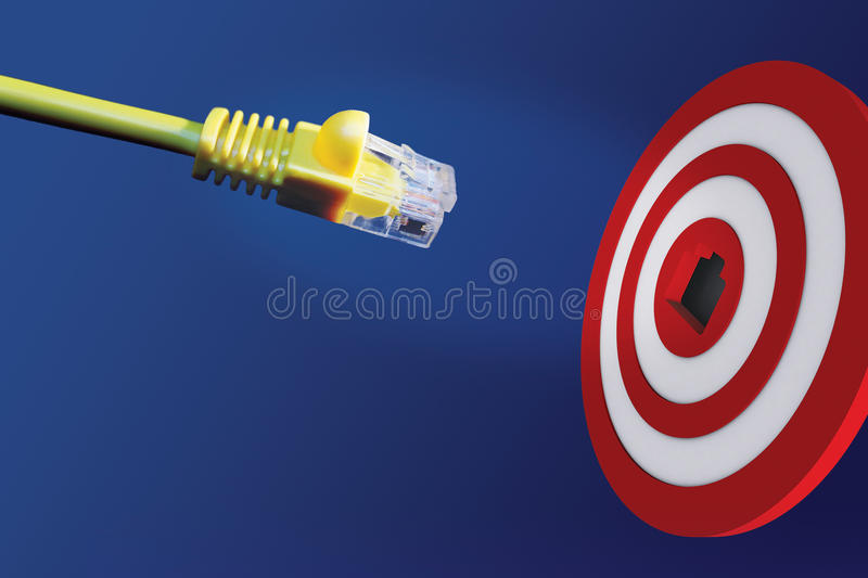 Download Internet Cable In Front Of Centre Of Target Royalty Free Stock Photos - Image: 17250068