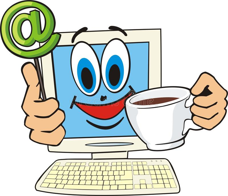 Internet cafe. Cartoon computer with cup coffee stock illustration