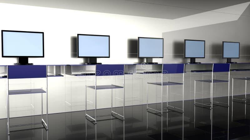 Internet Cafe. Shop 3d render hires stock illustration
