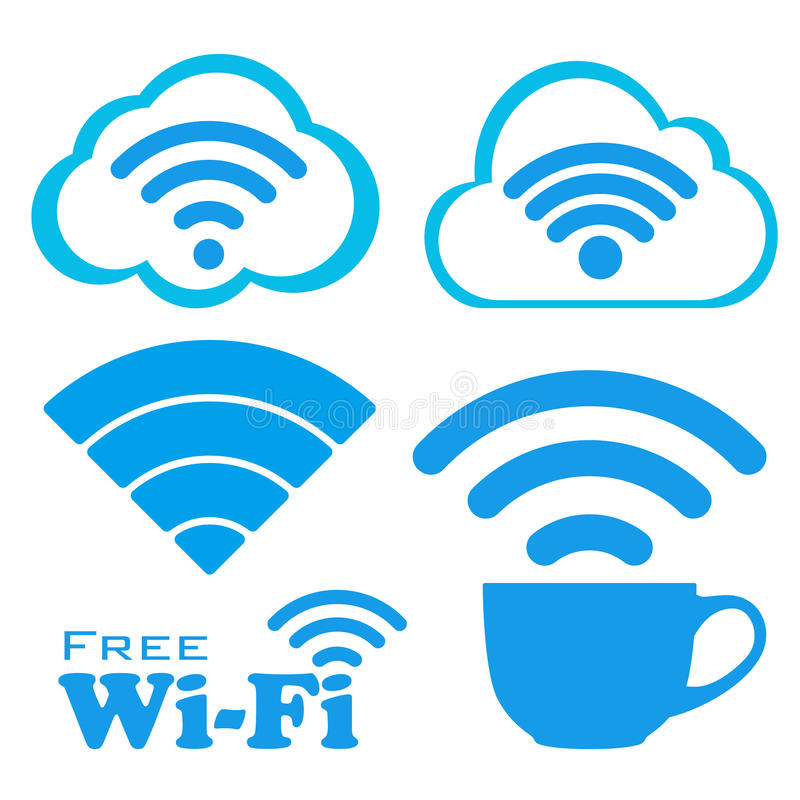 Internet cafe free wifi vector icons set. royalty free illustration