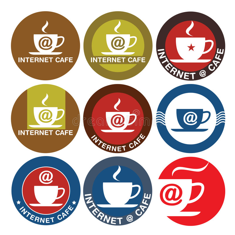 Internet Cafe logo design. Cup of coffee with a symbol of the internet. in circle shape vector illustration