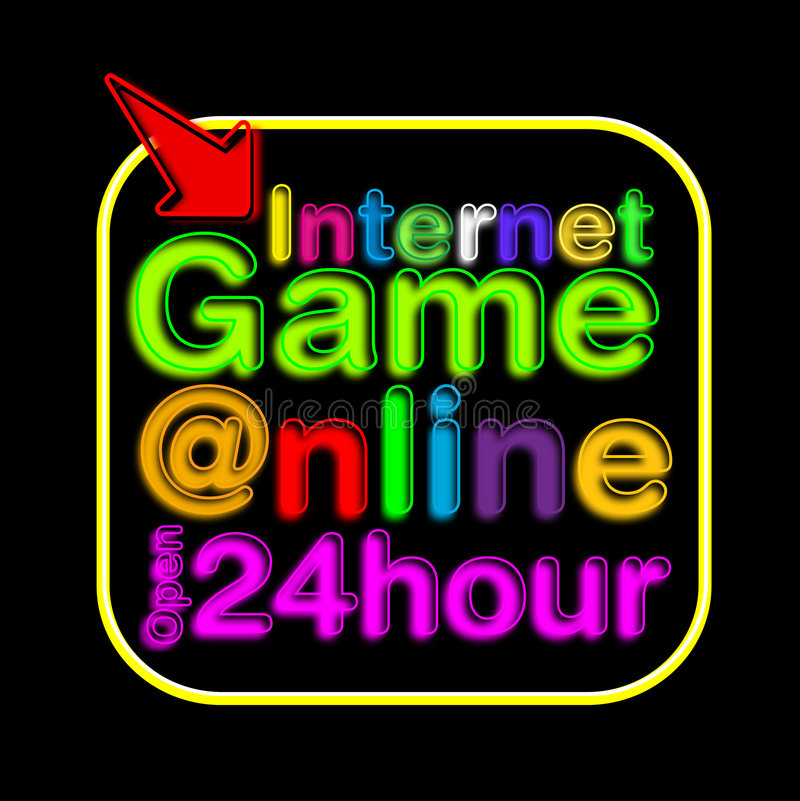 Internet Cafe neon sign. Illustration of a Internet Cafe neon sign that says 24hr opening royalty free illustration