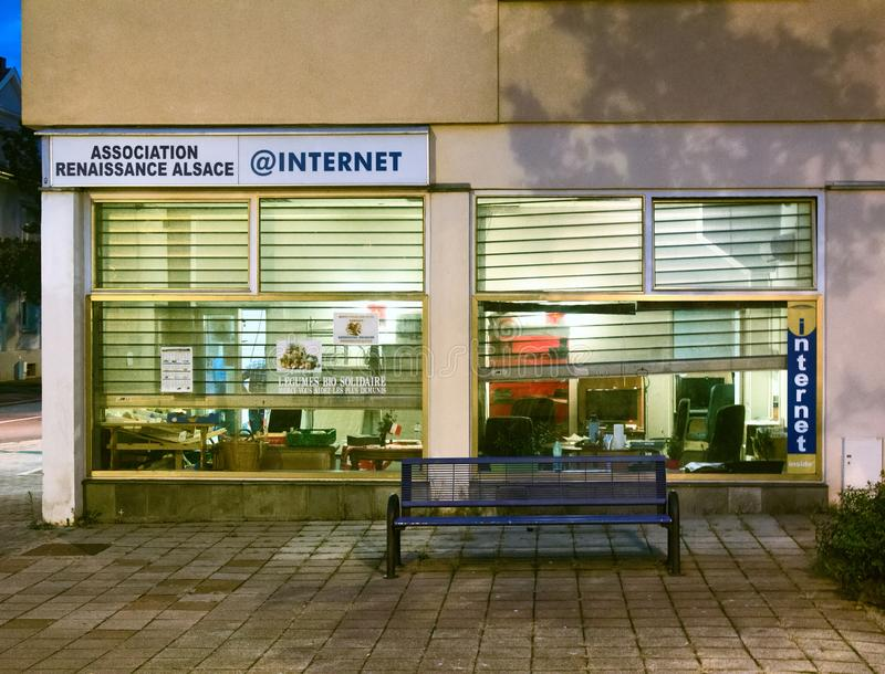 Internet cafe on outskirts of town, tea shop. Strasbourg , France - October 17, 2017: Internet cafe on outskirts of town, PC cafe, cyber cafe, tea shop stock photos