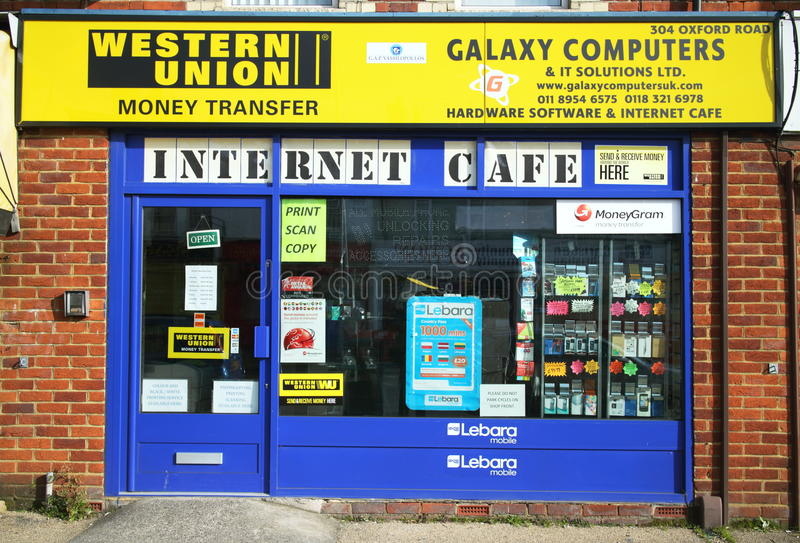 Internet Cafe. Reading,United Kingdom - March 6, 2015: Computer hardware and software business in Reading, England providing an Internet Cafe and other services stock photo