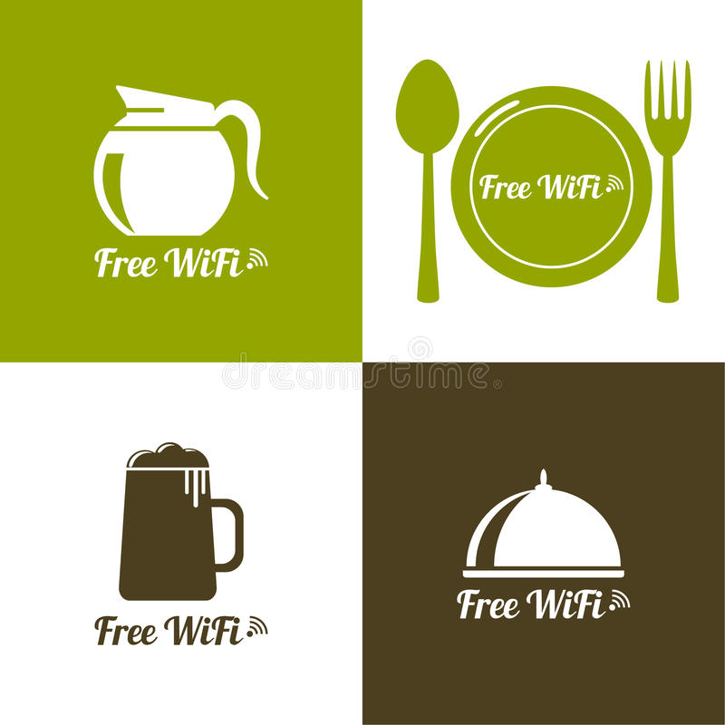 Internet cafes. Wireless free connection. Wifi icons with coffee, beer, spacing, fork, spoon for remote access. poster design stock illustration
