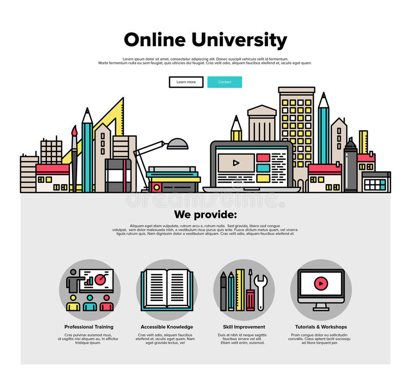 Internet campus flat line web graphics. One page web design template with thin line icons of internet campus workshop learning, online university space for vector illustration