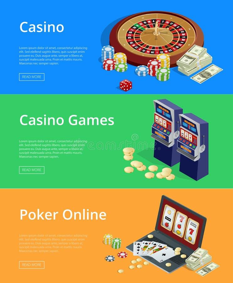 Internet casino games Modern flat design concepts for web banners. Internet casino games, online poker rooms, slot machines flat illustration concepts set vector illustration