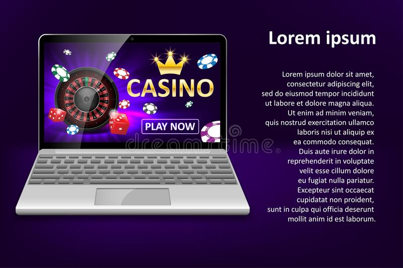 Internet casino marketing template with laptop, dice, poker, roulette wheel and casino chips. Web poker and gambling. Game banner. Vector illustration EPS 10 royalty free illustration