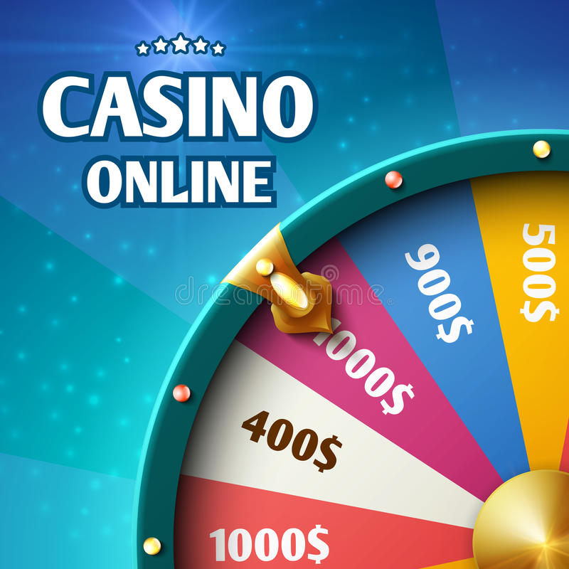 Internet casino marketing vector background with spinning fortune wheel royalty free illustration