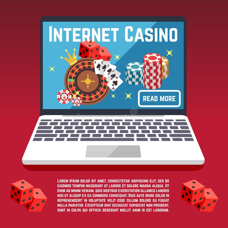 Internet casino page template with dice, poker, cards vector illustration
