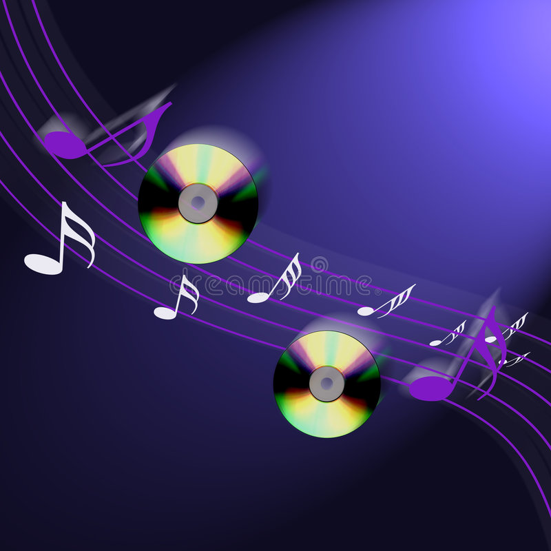 Internet cd music. An image showing cd music discs and musical notes on a blurr background internet stock illustration