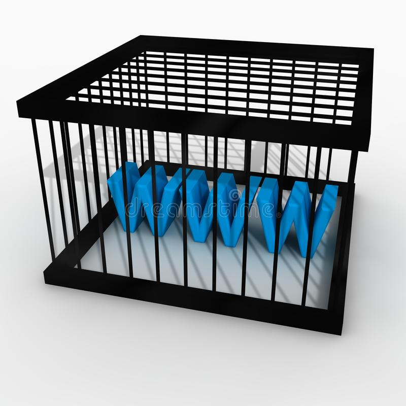 Internet censorship. 3d render of a cage with www inside(conceptual image for censorship vector illustration