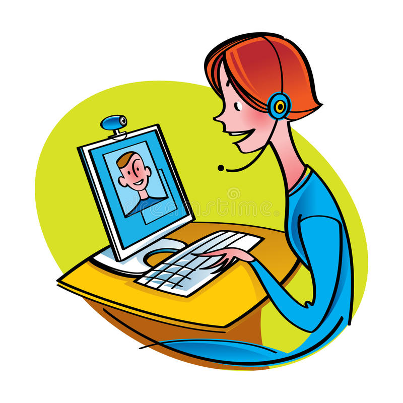 Internet Chat Communication. Woman, man and computer vector illustration