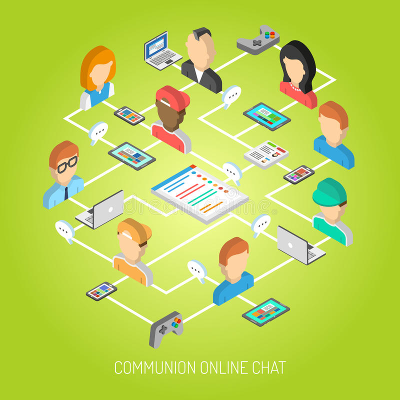 Internet Chat Concept. With isometric online communication symbols and people avatars vector illustration royalty free illustration