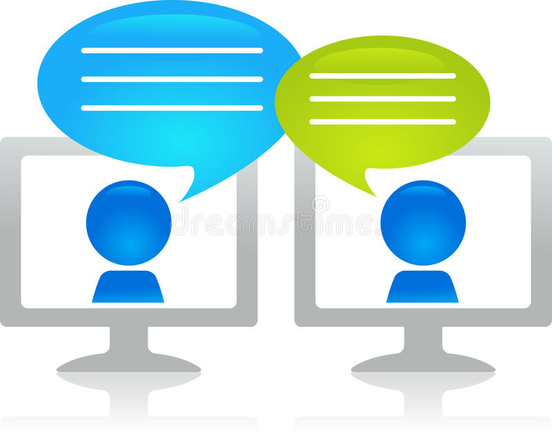 Internet chatting. People chatting through the internet royalty free illustration