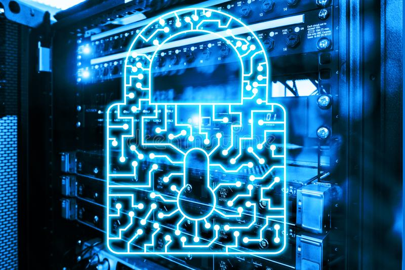 Internet cibernético de la protección de datos de la privacidad de la información del icono de la cerradura de la seguridad y con fotos de archivo