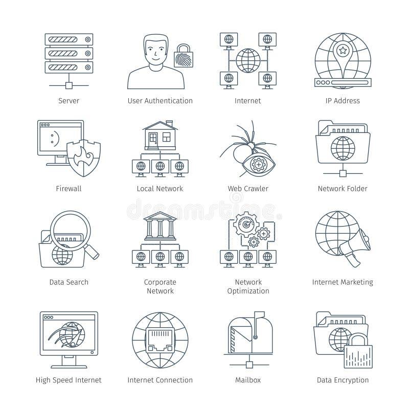 Internet Cienkie Kreskowe ikony ilustracja wektor