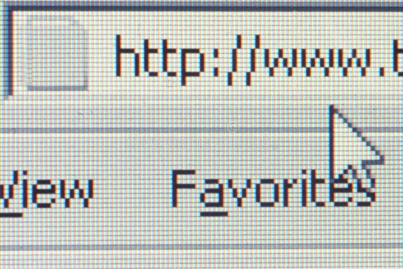 Internet, close up do ecrã de computador imagens de stock