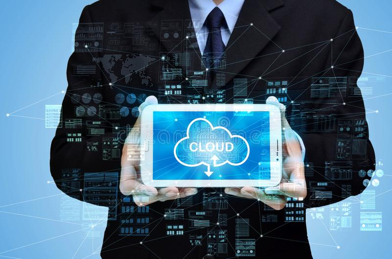 Internet cloud computing concept stock image