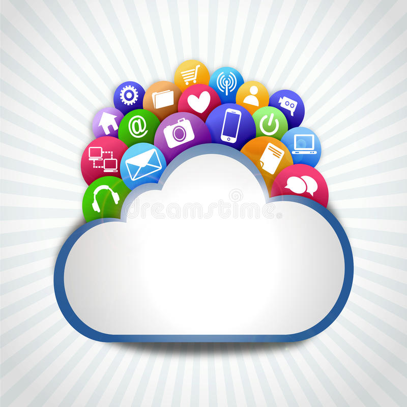 Internet cloud with icons. Many internet icon on the cloud system stock illustration