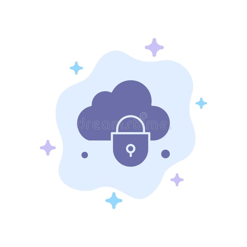 Internet, Cloud, Lock, Security Blue Icon on Abstract Cloud Background royalty free illustration