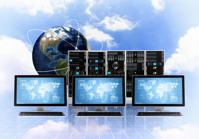 Internet Cloud server concept stock illustration