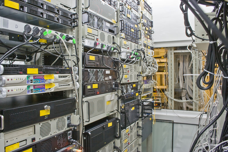 Internet collocation. Rack's with servers and routers royalty free stock photography