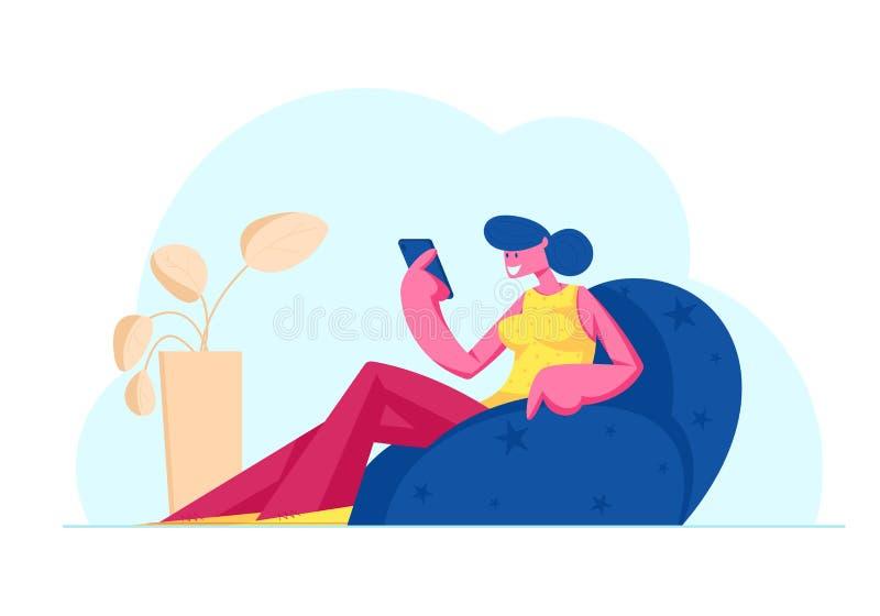Internet Communauté Animation Une jeune femme souriante écrivant une correspondance d'amour, communiquant sur les médias sociaux illustration stock