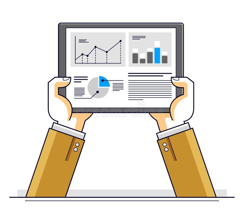 Internet communication and activity, man hands holding tablet and using apps, global network, modern communication, messenger or vector illustration