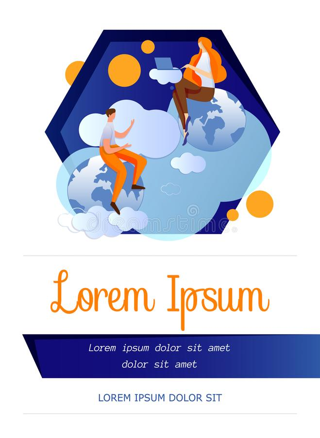 Internet Communication, Distant Learning Template. vector illustration