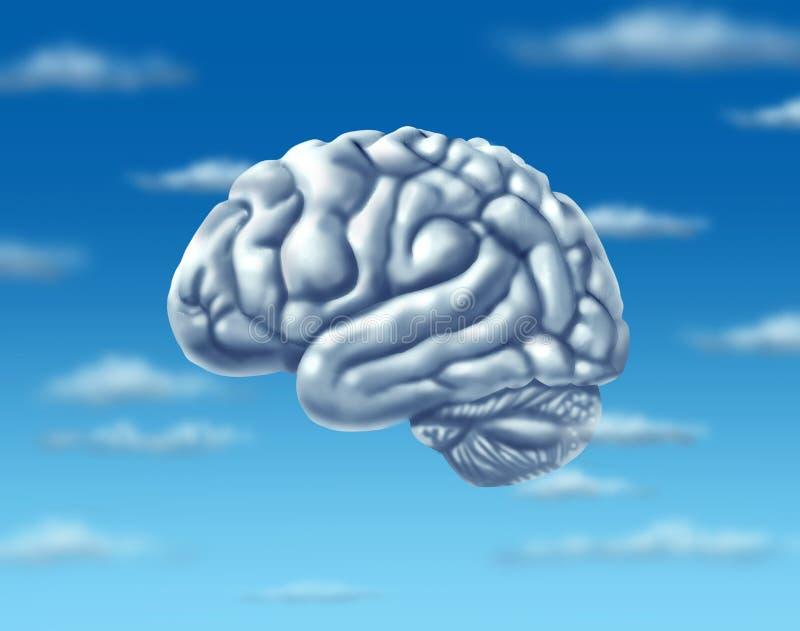 Internet computacional del Web del Virtual Server del cerebro de la nube ilustración del vector