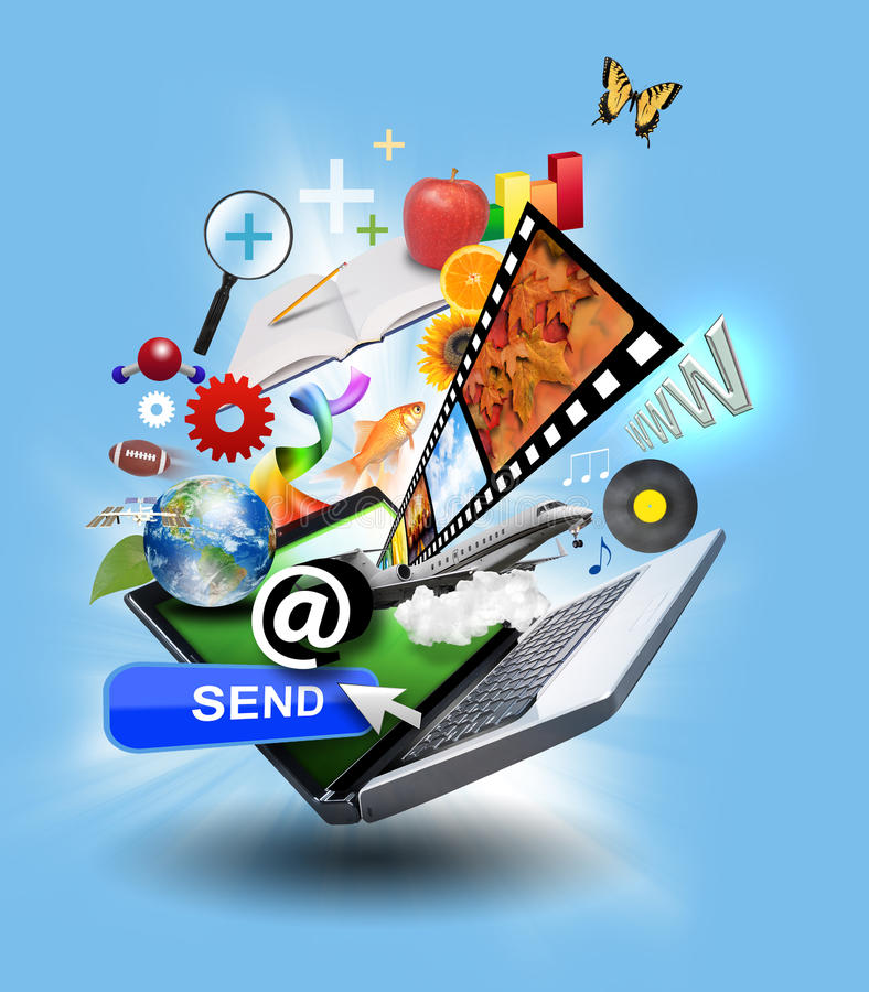 Internet computer Laptop with media Icons. An laptop has many objects projecting out of the screen on a blue glowing background. There is a send button, music stock illustration