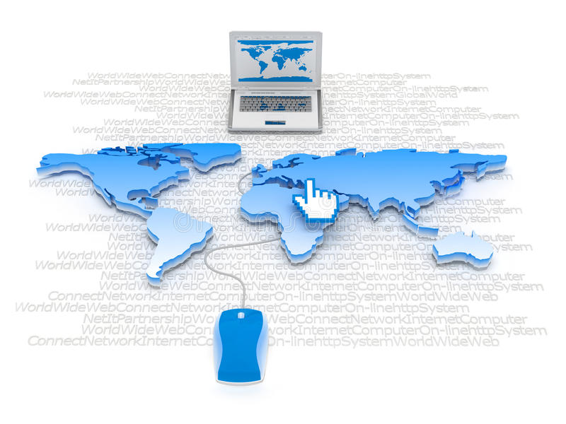 Internet - computermuis, laptop en curseur stock illustratie
