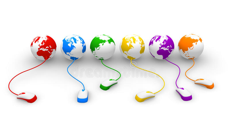 Internet concept. Row of color globes with attached PC mouses vector illustration