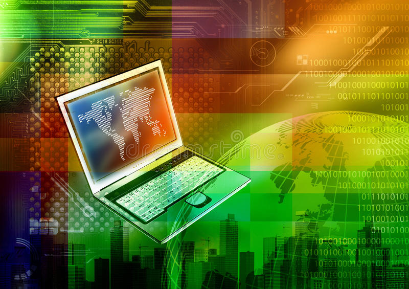 Internet Concept. A concept of internet in a colorfull backgrounds royalty free illustration